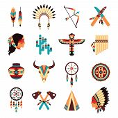 foto of headdress  - Ethnic american idigenous tribal amulets and symbols icons collection  with native feathers headdress abstract isolated vector illustration - JPG