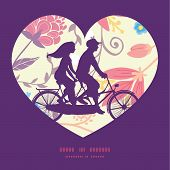 pic of tandem bicycle  - Vector fresh field flowers and leaves couple on tandem bicycle heart silhouette frame pattern greeting card template graphic design - JPG
