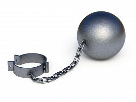 picture of shackles  - Metal shackles isolated on the white background - JPG