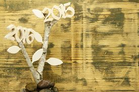 stock photo of birchwood  - Background of used wood with birchwood and wooden 2015 and 2016 - JPG