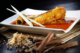 foto of stingray  - Stingray cook with spicy sambal with nice table setting - JPG