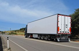 foto of trucks  - truck with long trailer trucking and logistics  - JPG