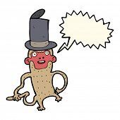 image of top-hat  - cartoon monkey wearing top hat with speech bubble - JPG