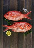 picture of red snapper  - Two fresh red snappers preparing for cooking with lemon and rosemary on wooden background - JPG