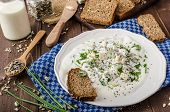 image of whole-wheat  - Homemade yogurt dip with blue cheese and chives whole wheat bread and milk for bio healthy food - JPG