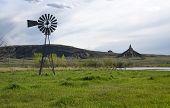 image of chimney rock  - Old windmill water pump at Chimney Rock in western Nebraska - JPG