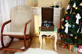 picture of fir  - Beautiful Christmas interior with fireplace - JPG