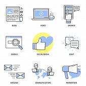 foto of video chat  - Social media marketing and internet vector icons set - JPG