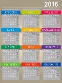 stock photo of monday  - Polish calendar for year 2016 - JPG