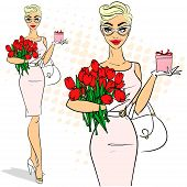 foto of 50s 60s  - Beautiful woman holding tulips and gift box - JPG