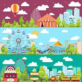 image of ferris-wheel  - Flat design conceptual city banners with carousels - JPG