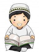 image of muslim  - Illustration of a Little Muslim Boy Reading the Quran - JPG