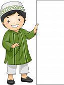 stock photo of muslim kids  - Illustration of a Little Muslim Boy Holding a Blank Board - JPG
