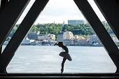 stock photo of tutu  - Silhouette of graceful ballerina in white tutu on a background of green slopes of the Dnieper Kiev - JPG