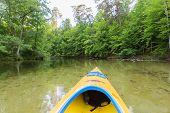 foto of kayak  - Beautiful Krutynia river landscape photographed from kayak - JPG