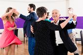 picture of senior class  - Group of people dancing in dance class having fun - JPG
