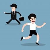stock photo of opposites  - running man with businessman walking opposite direction health concept - JPG