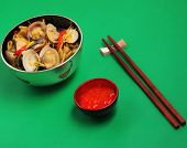 pic of clam  - herbal clam soup Vietnam style served on a green background - JPG