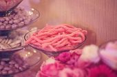 foto of buffet  - Capture of delicious Candy buffet on wedding day - JPG