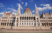 stock photo of hungarian  - The front of the Hungarian parliament seen across the Danube in Budapest - JPG