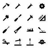 picture of carpentry  - Vector black carpentry icon set on white background - JPG