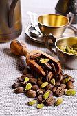 pic of cardamom  - Coffee beans and cardamom on burlap a - JPG