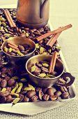 picture of cardamom  - Coffee beans star anise cardamom and cinnamon on burlap - JPG