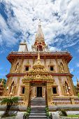 foto of worship  - Beautiful pagoda at Wat Chalong or Wat Chaitararam Temple famous attractions and place of worship in Phuket Province Thailand - JPG