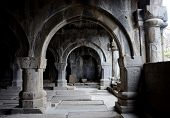 foto of church interior  - Colonnade inside medieval christian church of Sanahin Monastery complex - JPG