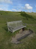 pic of pews  - Bench within sand dune landscape photographed at Daymer Bay in Cornwall - JPG