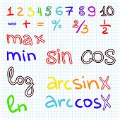 image of math  - math problems on graph squared paper with pencil - JPG