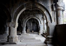 stock photo of armenia  - Colonnade inside medieval christian church of Sanahin Monastery complex - JPG
