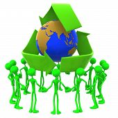 Earth Day Recycling Unity Crowd Concept poster