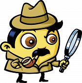 pic of sherlock holmes  - A detective is looking for clues with a magnifying glass - JPG