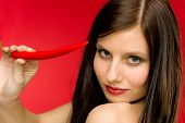Chili Pepper - Portrait Young Woman Red Spicy poster