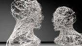 Abstract conceptual composition - two people face to face. Made of meshes. 3D rendering. poster