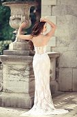 Elegant Bride Woman Wedding Portrait, Vogue Style Photo. Fashion Brunette Model Posing In Prom White poster
