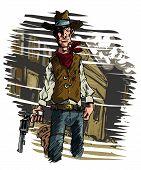 picture of gunslinger  - Mean illustration of a Cowboy gunslinger draws his six shooter - JPG