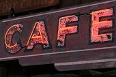 Old Neon Cafe Sign poster