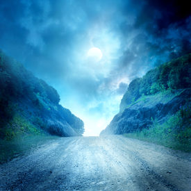 picture of fantasy landscape  - Moon road - JPG