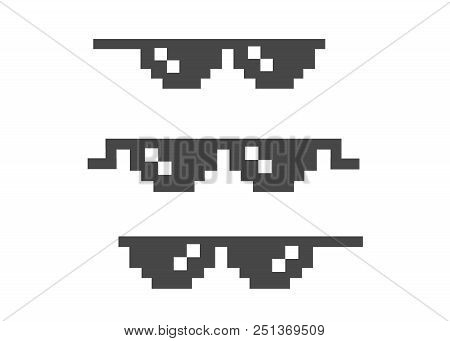poster of Funny Pixelated Sunglasses. 8bit Style Sunglasses Vector Icon