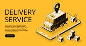Delivery Service Vector Illustration Of Loader Truck And Parcel Boxes At Warehouse. Logistics And Tr poster