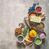 Various colorful superfoods as acai powder, turmeric, matcha green tea, quinoa, pumpkin seeds, blueb poster