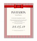 Invitation Design Template (save The Date Card). Classic Red Stripy Background With Red Bow, Ribbon  poster