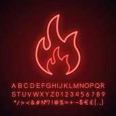 Fire Neon Light Icon. Bonfire. Glowing Sign With Alphabet, Numbers And Symbols. Vector Isolated Illu poster