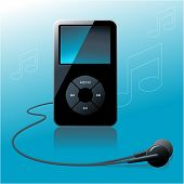 MP3 player in front of a blue background with notes - no flattened transparencies, just gradients us