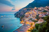 Positano. Aerial Image Of Famous City Positano Located On Amalfi Coast, Italy During Sunset. poster
