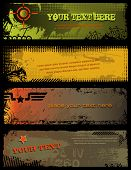 image of military helicopter  - set of 4 grungy military banners - JPG