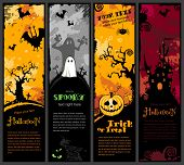 image of yellow castle  - set of four vertical Halloween banners - JPG