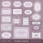 picture of wedding invitation  - Set of ornate vector frames and ornaments with sample text - JPG